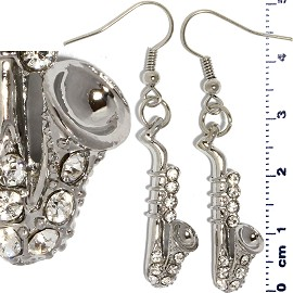 Rhinestone Earrings Saxophone Silver Clear Ger436