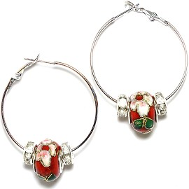 Earrings 34mm Wide Hoop Flower Cloisonné Bead Red Ger438