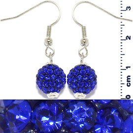Rhinestone Earrings Ball Bead Blue Ger439