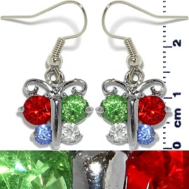 Rhinestone Earrings Butterfly Silver Multi Color Ger441
