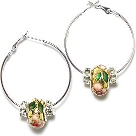 Earrings 34mm Wide Hoop Flower Cloisonné Bead Gold Ger446