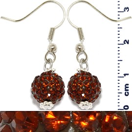 Rhinestone Earrings Ball Bead Brown Ger447