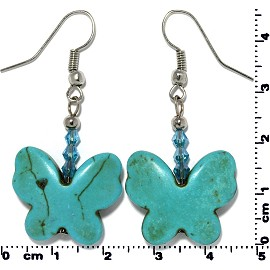 Butterfly Earth Stone Smooth Earrings Silver Turquoise Ger449