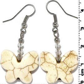 Butterfly Earth Stone Smooth Earrings White Cream Ivory Ger450