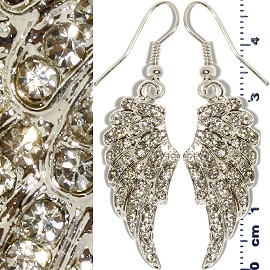 Rhinestone Earrings Angel Wings Silver Clear Ger451