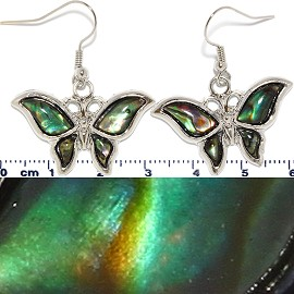 Abalone Earrings Butterfly Green Ger459