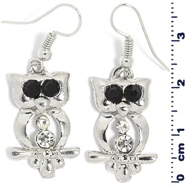 1 Pair Owl Rhinestone Earrings Clear Black Silver Tone Ger460