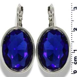 Crystal Earrings Oval Silver Tone Blue Ger463