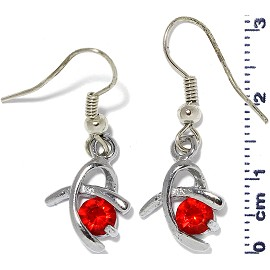 Rhinestone Earrings Silver Red Ger465