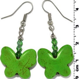 Butterfly Earth Stone Smooth Earrings Silver Green Ger468