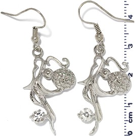 Rhinestone Earrings Silver Clear Ger469