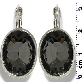 Rhinestone Earrings Heart Silver Red Ger474