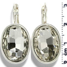Rhinestone Earrings Heart Outline Silver Blue Ger479