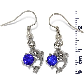 Rhinestone Earrings Dolphin Silver Blue Ger492