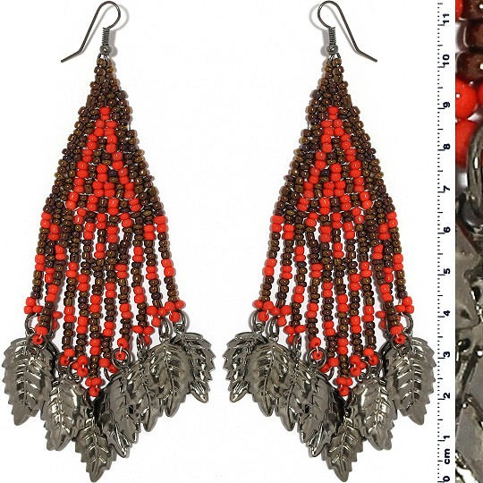 Indian Earrings Leaves Leaf Brown Red Gray Tone Ger501