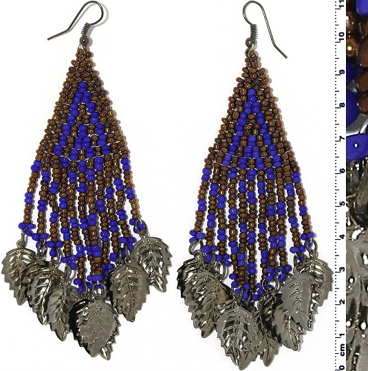 Indian Earrings Leaves Leaf Brown Blue Gray Tone Ger508