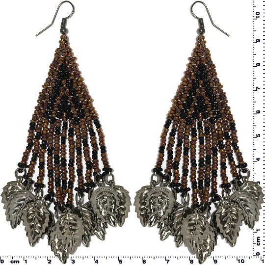 Indian Earrings Leaves Leaf Brown Black Gray Tone Ger509