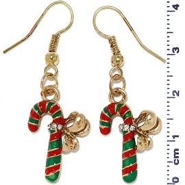 Christmas Candy Cane Dangle Earrings Red Green Gold Ger510