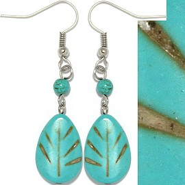 Earth Stone Earrings Leaf Teal Ger514