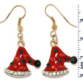 Christmas Santa Hat Rhinestones Dangle Earrings Red Gold Ger516