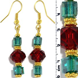 Christmas Color Earrings Crystal Cube Line Gold Teal Red Ger521