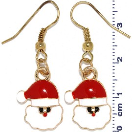 Christmas Santa Hat Head Dangle Earrings Red White Gold Ger522