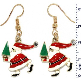 Christmas Santa Claus Hat Tree Dangle Earrings Red Gold Ger523