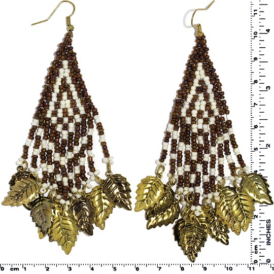 Indian Earrings Leaves Leaf Brown White Gold Tone Ger531