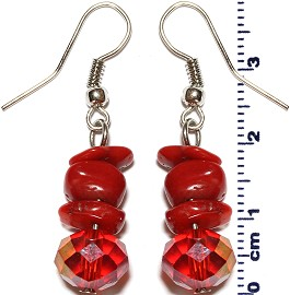 Crystal Stone Earrings Red Ger547