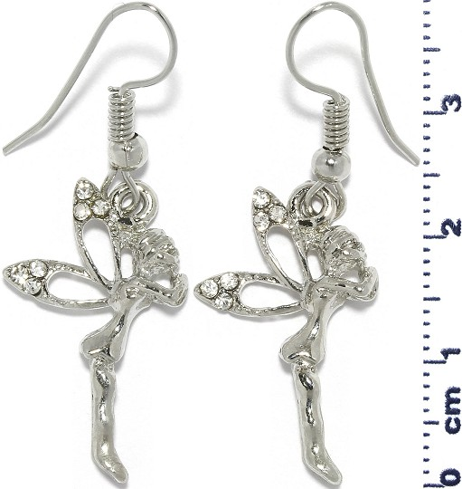 Fairy Rhinestone Earrings Silver Tone Ger564