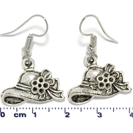 Lady's Flower Hat Dangle Earrings Metallic Black Tone Ger573