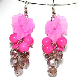 Earring Crystal Silver Pink GER598