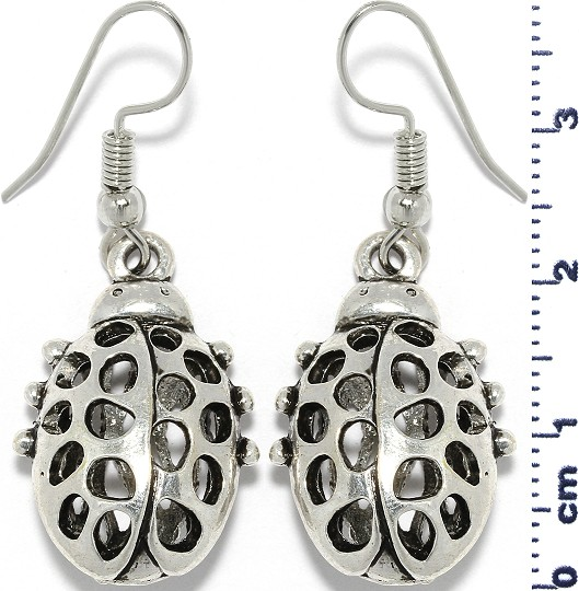 Ladybug Oval Dangle Earrings Metallic Tone Ger600
