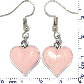 Heart Shaped Earrings Silver Tone Pink Ger617