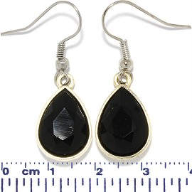 Crystal Cut Tear Earrings LT Antique Gold Obsidian Black Ger622