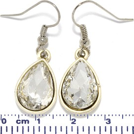 Crystal Cut Tear Earrings LT Antique Gold Clear Silver To Ger623