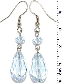 Crystal Earrings Oval Teardrop Drop Down Light Sky Blue Ger624