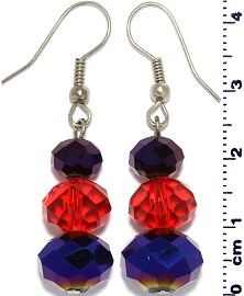 Crystal Earrings Oval Bead Drop Down Black Red Blue Ger628