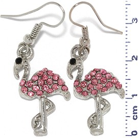Flamingo Earrings Rhinestone Pink Silver Tone Alloy Ger630
