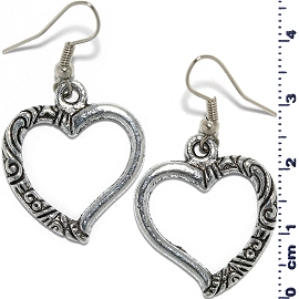 Heart Doughnut Earrings Dangle Metallic Silver Tone Ger631