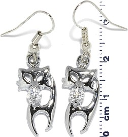 Rhinestone Earrings Cat Gray Clear Ger640