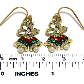 Christmas Earrings Gold Tone Red Green Pearl Double Bell Ger642