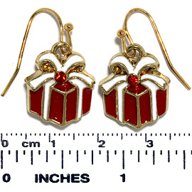 Christmas Earrings Gold Tone Red White Gift Box Bowtie Ger643