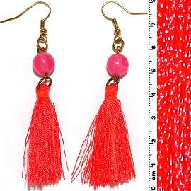 Dangle Earrings Beads Gold Tone Pink String Neon Orange Ger645
