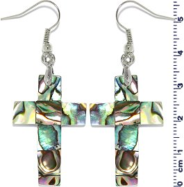 Abalone Earrings Cross Green Ger646