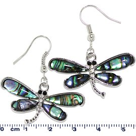 Abalone Earrings Dragonfly Green Ger647