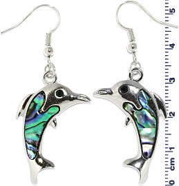 Abalone Earrings Dolphin Green Silver Ger651