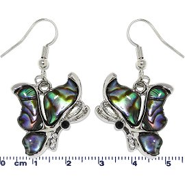 Abalone Earrings Butterfly Side View Green Blue Ger652