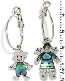 Abalone Earrings Boy Girl Green Silver Ger660