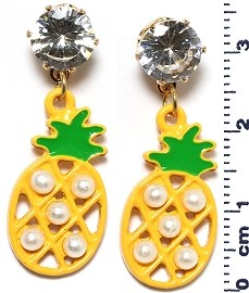Pineapple Rhinestone Stud Beads Earrings Yellow Green Ger663